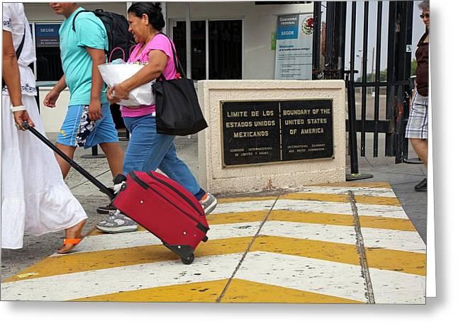 Us-mexico Border At Tijuana Greeting Card by Jim West