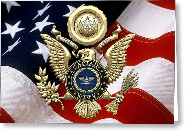 U. S.  Navy Captain - C A P T  Rank Insignia Over Gold Great Seal Eagle And Flag Greeting Card
