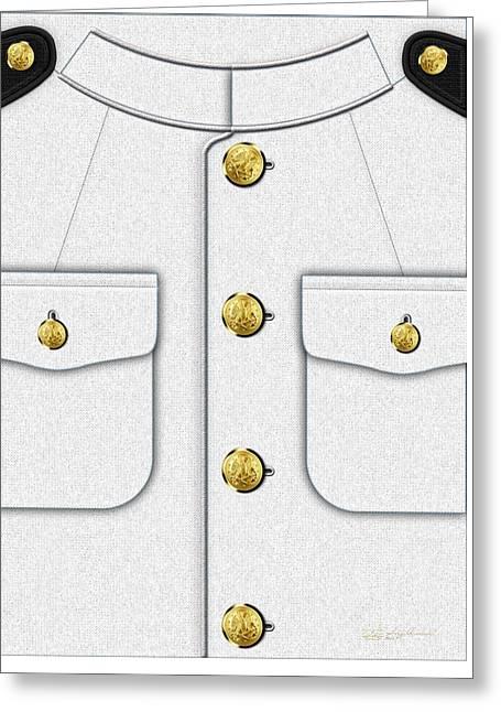 U S Navy Dress White Uniform Greeting Card by Serge Averbukh