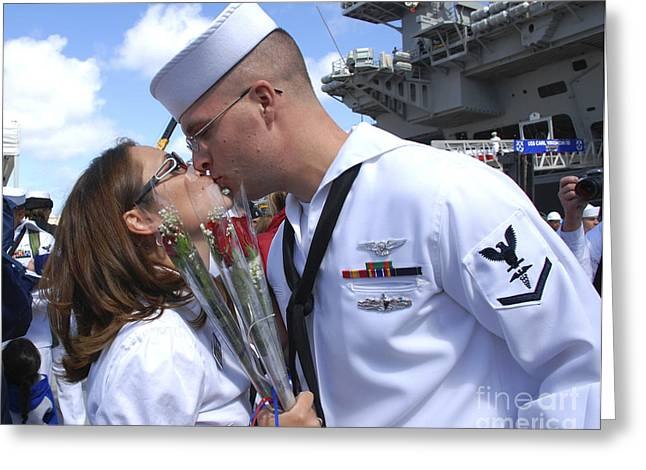 U.s. Navy Sailor Kisses His Wife Greeting Card by Stocktrek Images
