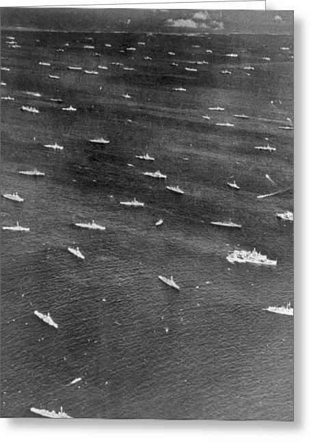 U.s. Navy Wwii Task Force Greeting Card by Underwood Archives