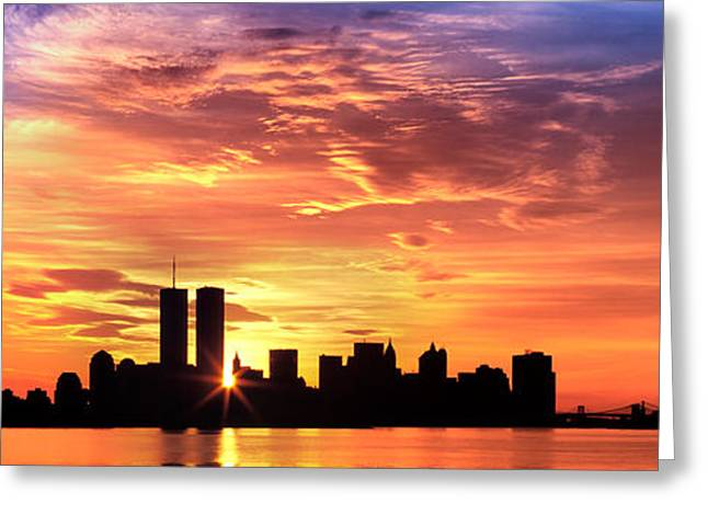 Us, New York City, Skyline, Sunrise Greeting Card by Panoramic Images