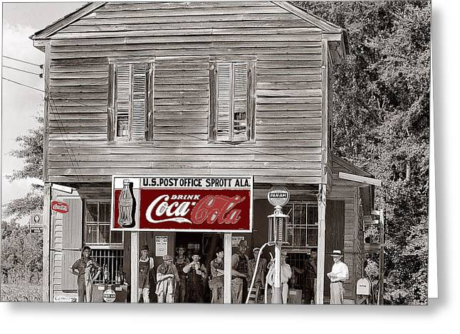 U.s. Post Office General Store Coca-cola Signs Sprott  Alabama Walker Evans Photo C.1935-2014. Greeting Card by David Lee Guss
