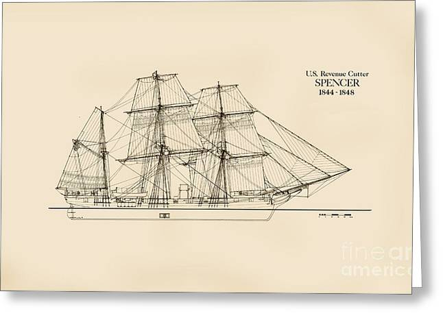 U. S. Revenue Cutter Spencer Greeting Card by Jerry McElroy - Public Domain Image