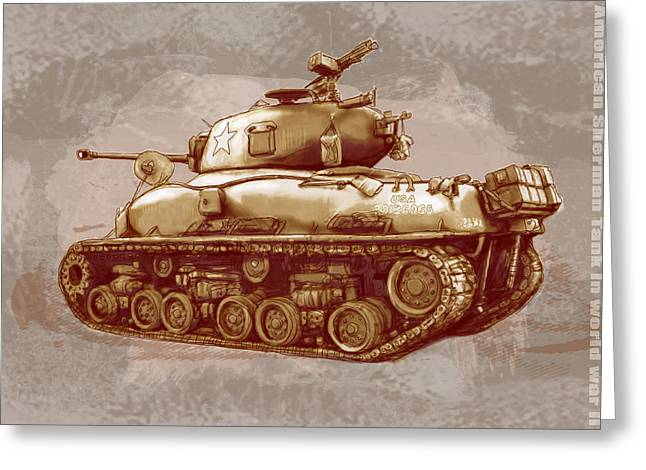 Us Sherman Tank In World War 2 - Stylised Modern Drawing Art Sketch Greeting Card by Kim Wang