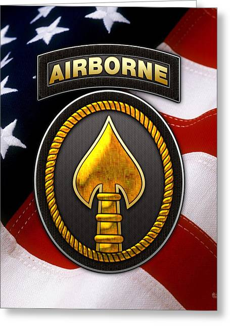 U. S. Special Operations Command -  U S S O C O M Patch Over American Flag Greeting Card by Serge Averbukh