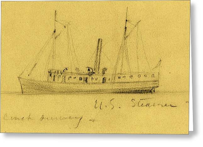 U.s. Steamer, Between 1860 And 1865, Drawing On Tan Paper Greeting Card