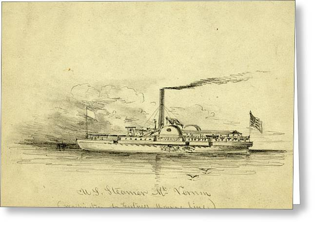 U.s. Steamer Mt. Vernon, Between 1860 And 1865 Greeting Card