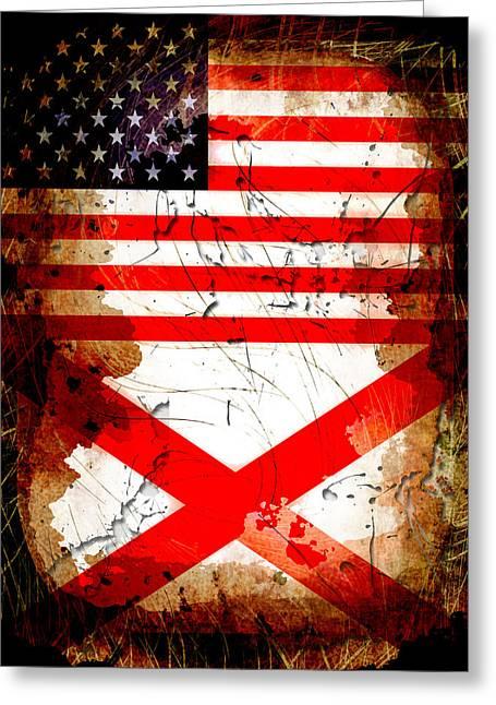 Usa Alabama Grunge Flags Greeting Card by David G Paul