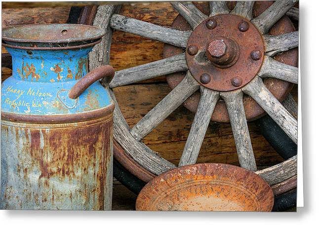 Usa, Alaska Antique Milk Can, Wagon Greeting Card