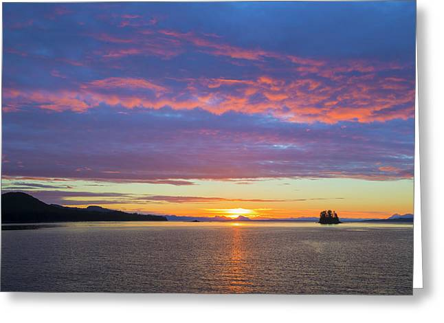 Usa, Alaska Sunset On Flynn Cove Credit Greeting Card by Jaynes Gallery