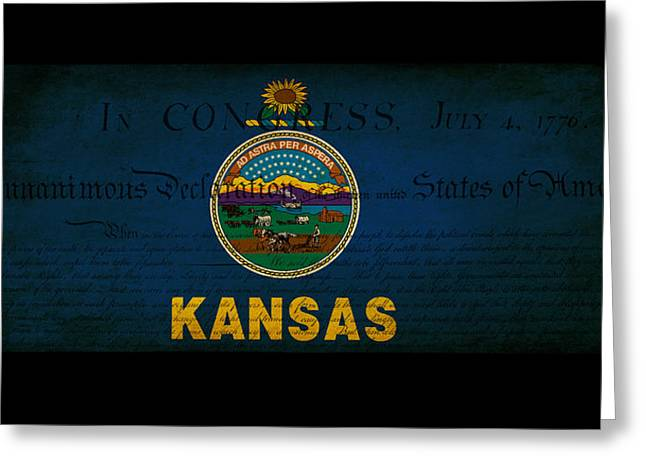 Usa American Kansas State Map Outline With Grunge Effect Flag An Greeting Card by Matthew Gibson