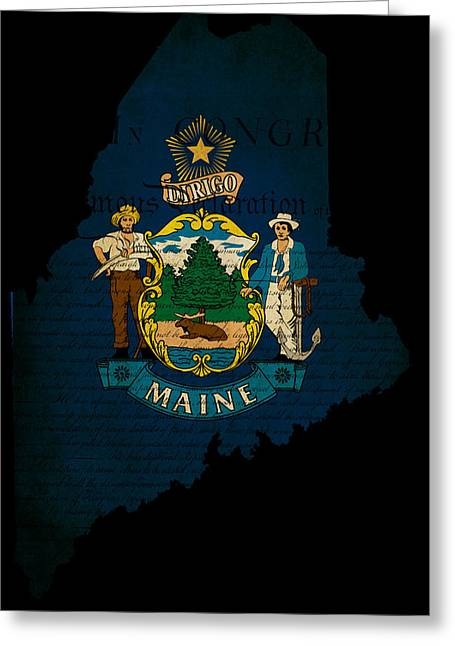 Usa American Maine State Map Outline With Grunge Effect Flag And Greeting Card by Matthew Gibson