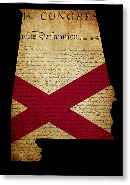 Usa American State Alabama Map Outline With Grunge Effect Flag A Greeting Card by Matthew Gibson