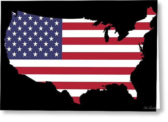 Usa And Flag Greeting Card by Pete Trenholm