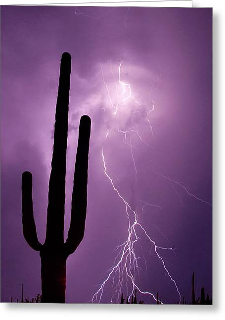 Usa, Arizona Composite Of Saguaro Greeting Card by Jaynes Gallery