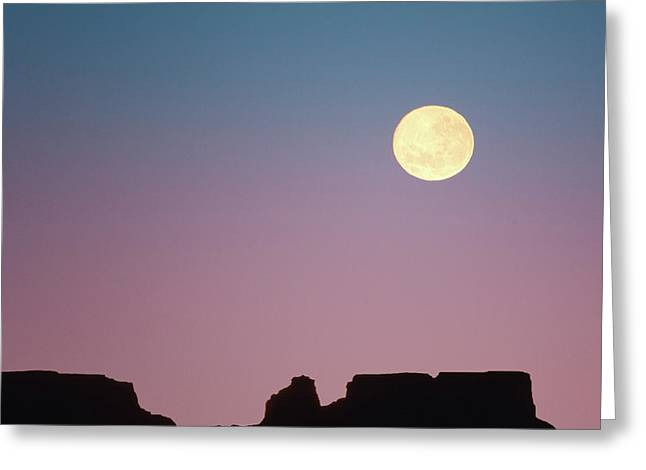 Usa, Arizona Moonrise Over Butte Credit Greeting Card by Jaynes Gallery