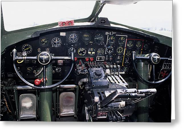 Usa, B-17 Bomber Aircraft, Cockpit Greeting Card by Gerry Reynolds