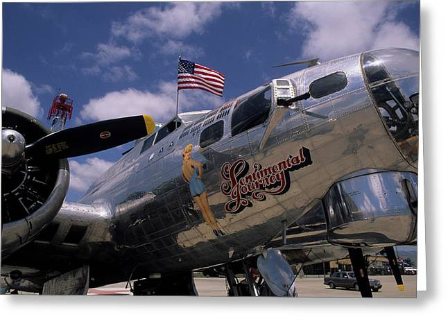 Usa, B-17 Bomber Aircraft, Salinas Greeting Card by Gerry Reynolds
