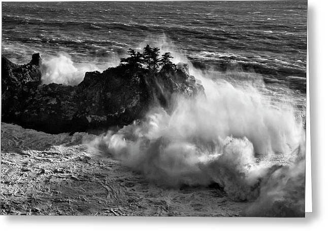 Usa, California, Big Sur, Big Wave Greeting Card