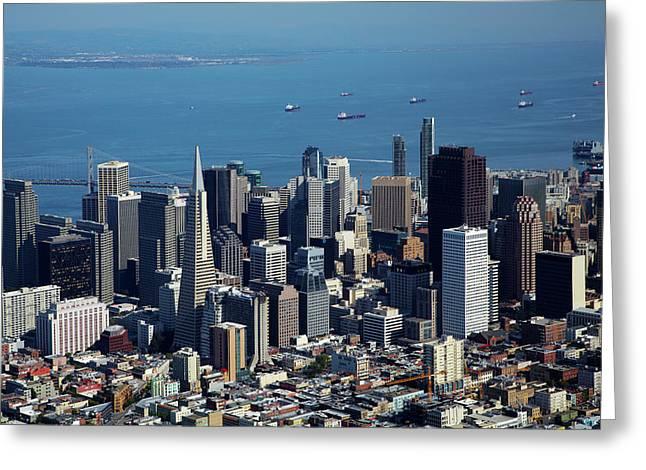 Usa, California, Downtown San Greeting Card by David Wall