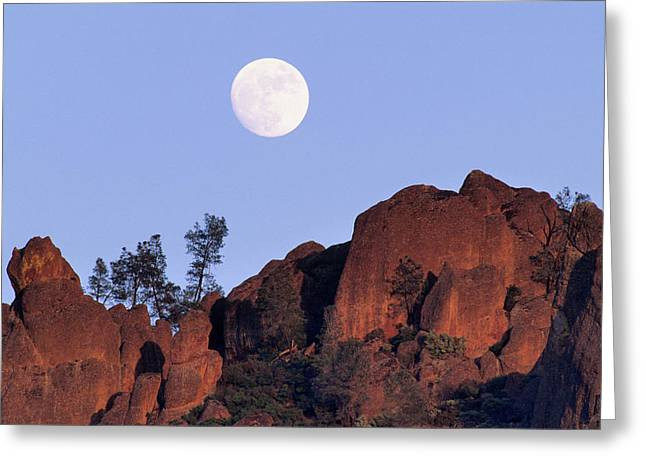 Usa, California, Full Moon, High Peaks Greeting Card by Gerry Reynolds