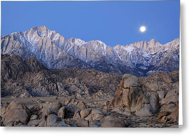 Usa, California Moonset On Lone Pine Greeting Card by Jaynes Gallery