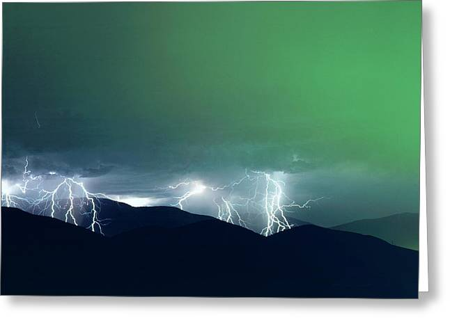 Usa, California, San Diego, Lightning Greeting Card by Jaynes Gallery