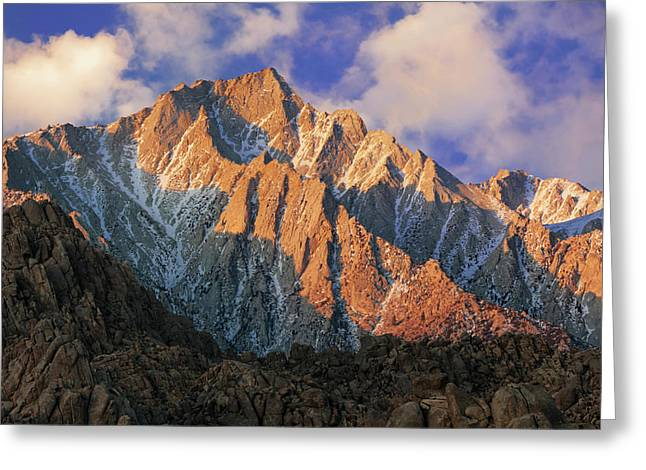 Usa, California Sunrise On Mt Whitney Greeting Card by Jaynes Gallery