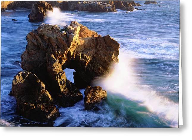Usa, California, Waves Breaking Greeting Card