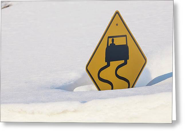 Usa, Colorado A Slippery When Wet Sign Greeting Card by Jaynes Gallery