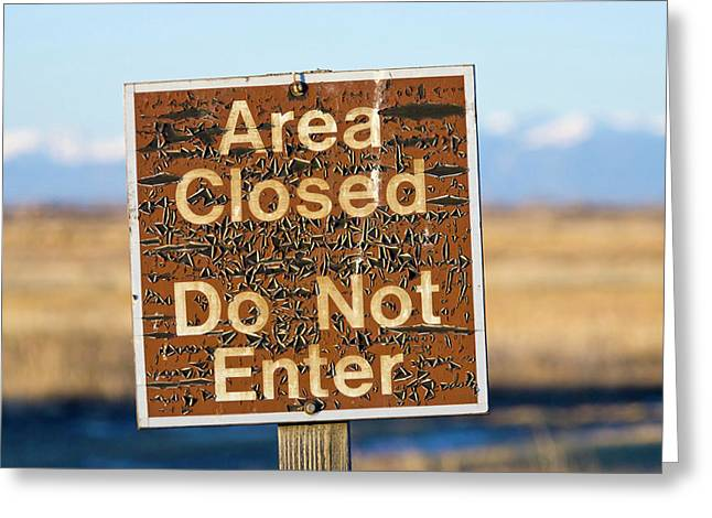 Usa, Colorado An Aged Warning Sign Greeting Card by Jaynes Gallery