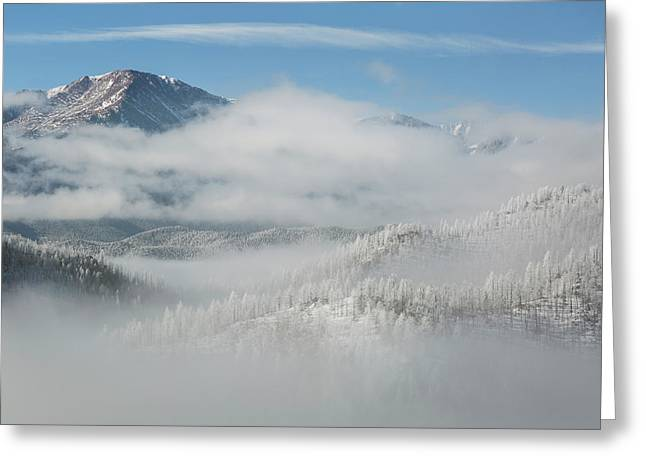 Usa, Colorado Clouds Fill The Valleys Greeting Card by Jaynes Gallery