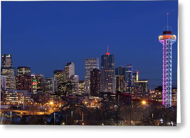 Usa, Colorado, Denver, City View Greeting Card by Walter Bibikow