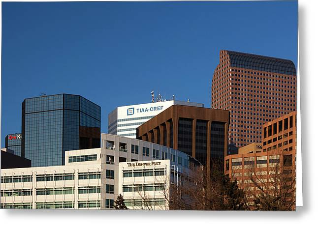 Usa, Colorado, Denver, Downtown Greeting Card by Walter Bibikow