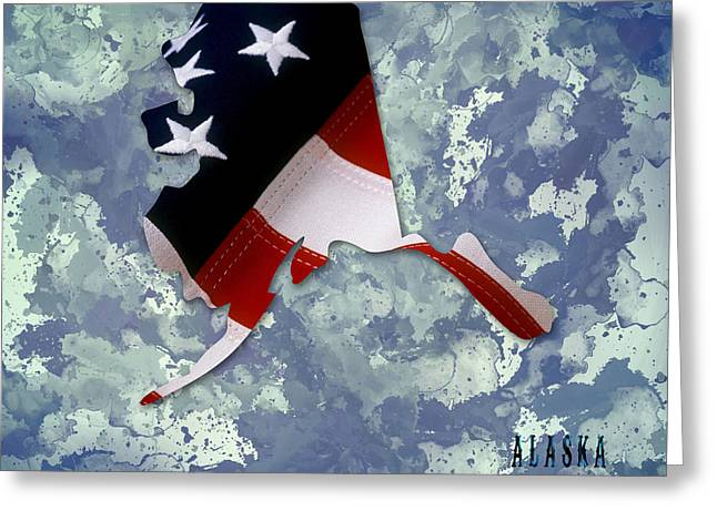 Usa Flag Alaska State Digital Artwork Greeting Card by Georgeta Blanaru