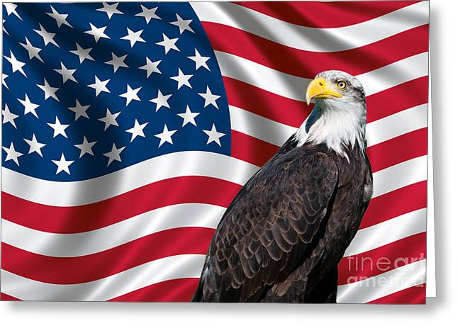 Greeting Card featuring the photograph Usa Flag And Bald Eagle by Carsten Reisinger