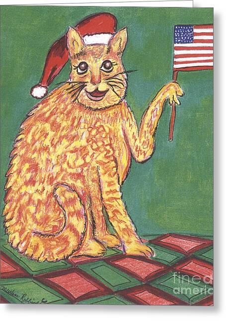 Usa Flag Cat Greeting Card by Marlene Robbins
