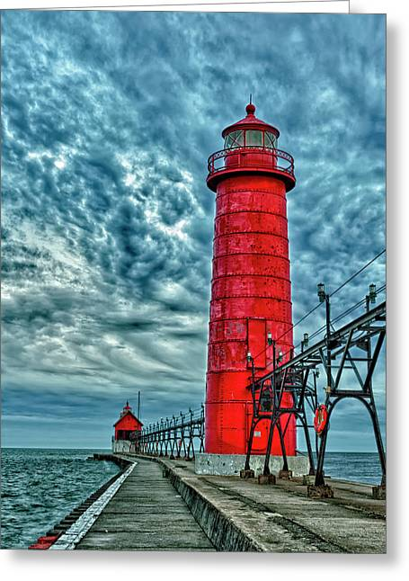Usa, Grand Haven, Michigan, Lighthouse Greeting Card