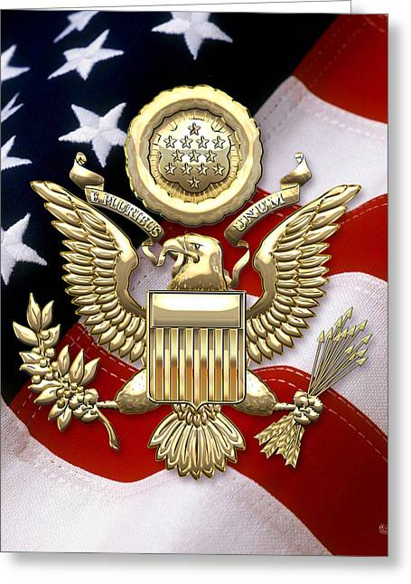 U.s.a. Great Seal In Gold Over American Flag  Greeting Card by Serge Averbukh
