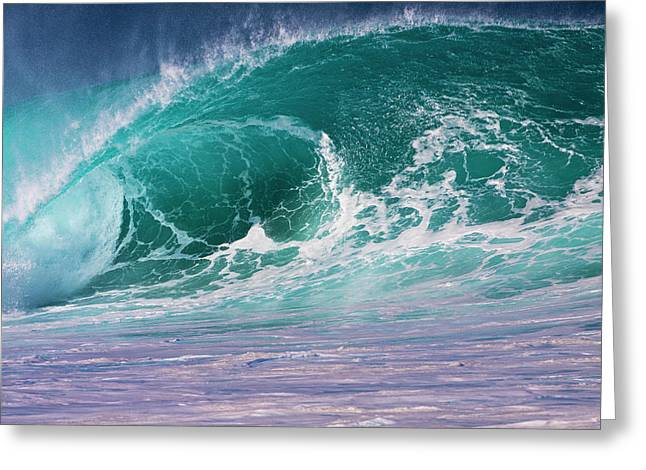 Usa, Hawaii, Oahu, Large Waves Greeting Card by Terry Eggers