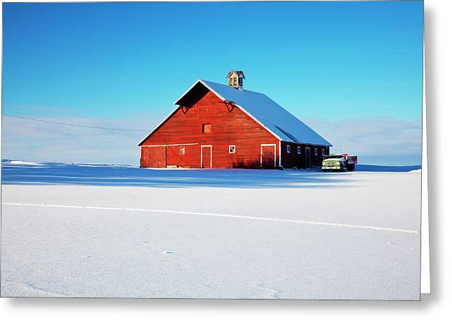 Usa, Idaho, Old Red Barn And Truck Greeting Card by Terry Eggers