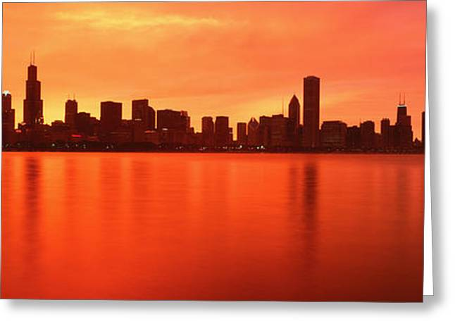 Usa, Illinois, Chicago, Sunset Greeting Card by Panoramic Images