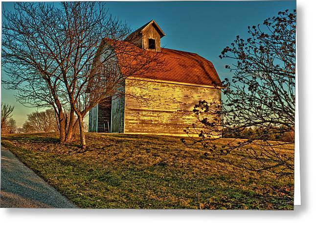 Usa, Indiana, Rural Scene Of Red-roofed Greeting Card