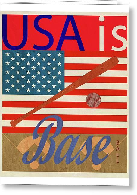 Usa Is Baseball Greeting Card by Joost Hogervorst