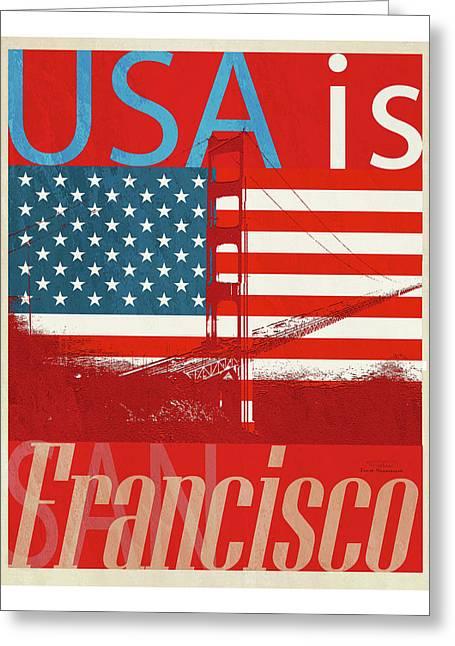 Usa Is San Francisco Red Greeting Card by Joost Hogervorst