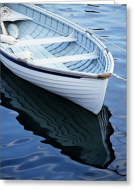 Usa, Maine, Rockport, Dinghy Moored Greeting Card