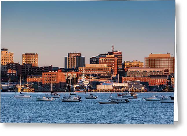 Usa, Maine, Skyline From South Portland Greeting Card