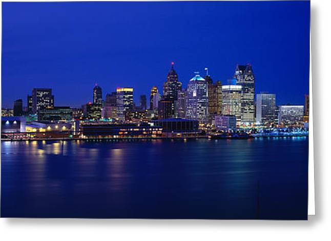 Usa, Michigan, Detroit, Night Greeting Card