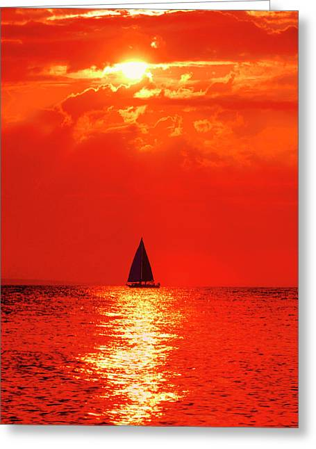 Usa, Michigan, Mackinaw, Lake Huron Greeting Card by Jaynes Gallery